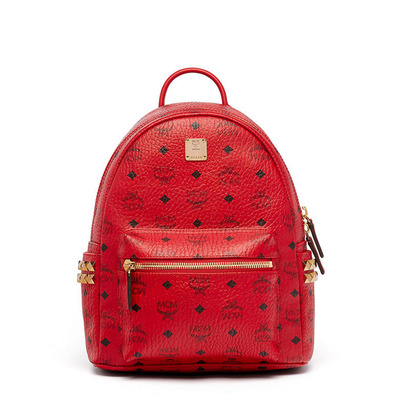 MCM Small Stark Side Odeon Studs Backpack In Red in New York, NY 10451 Online Shopping