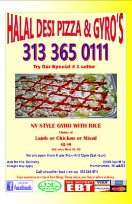Halal Desi Pizza & Gyro's in Hamtramck, MI Pizza