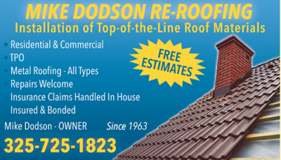 Mike Dodson Re-Roofing in Abilene, TX 79605 Roofing & Siding Veneers