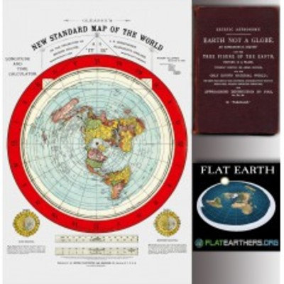 Flat Earth Map in Midtown - new york, NY 10019 Antique Maps